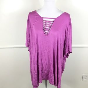 NEW Avenue Purple Lace Up Neck Tee Womens 30/32